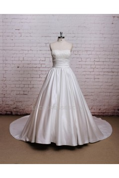A-line Strapless Lace and Satin Bowknot Bridal Wedding Dresses WD010677