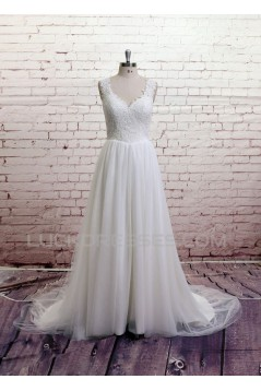 A-line Lace and Tulle Bridal Wedding Dresses WD010678