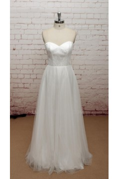 A-line Long Sleeves Lace and Tulle Bridal Wedding Dresses WD010681