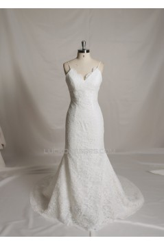 Trumpet/Mermaid Spaghetti Strap Lace Bridal Wedding Dresses WD010684
