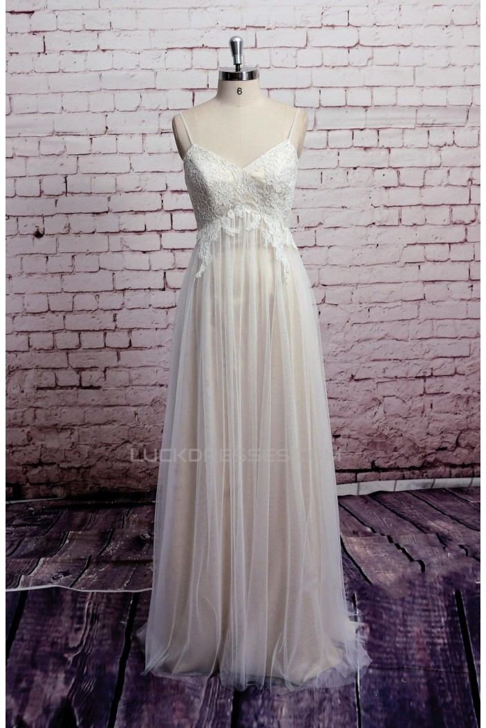 Sheath/Column Spaghetti Strap Tulle and Lace Bridal Wedding Dresses WD010687