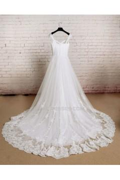 A-line Straps Lace Bridal Wedding Dresses WD010689