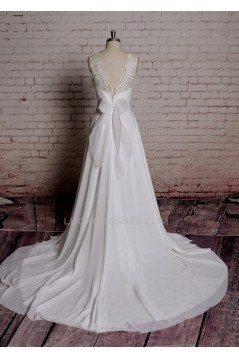 A-line V-neck Lace Bowknot Bridal Wedding Dresses WD010690