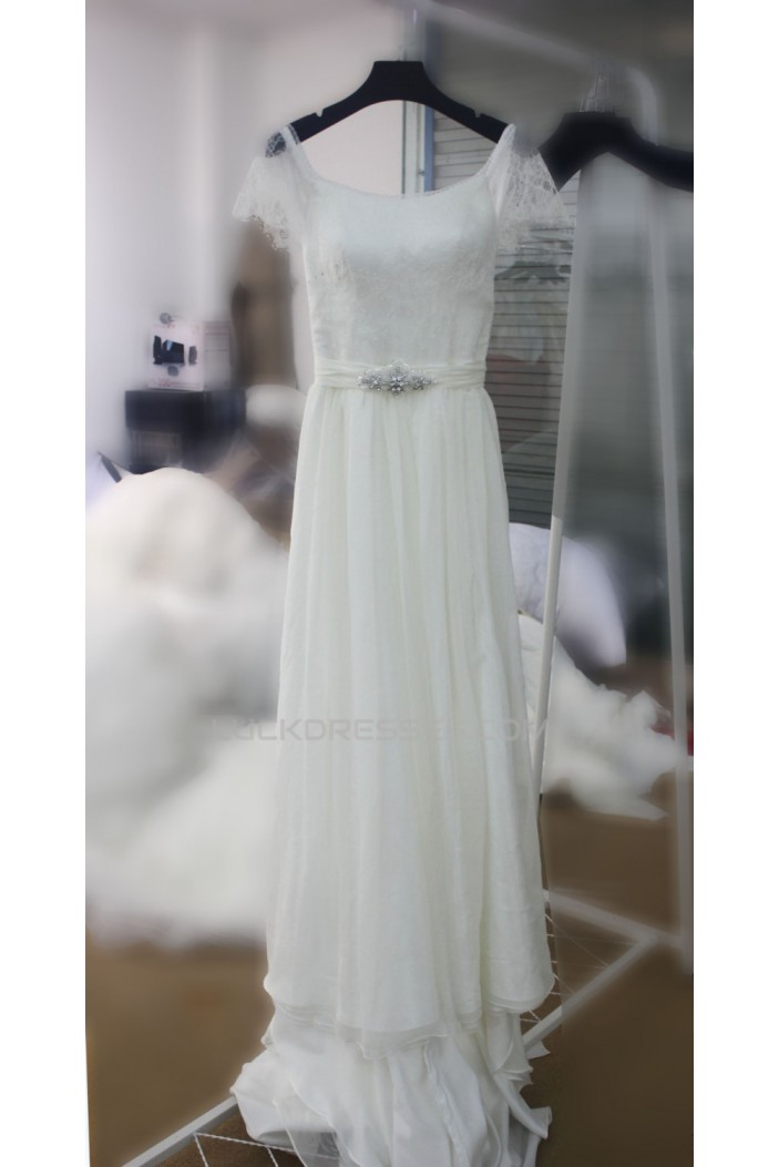 A-line Lace and Chiffon Bridal Wedding Dresses WD010691