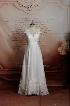 A-line Lace Short Sleeves Bridal Wedding Dresses WD010692