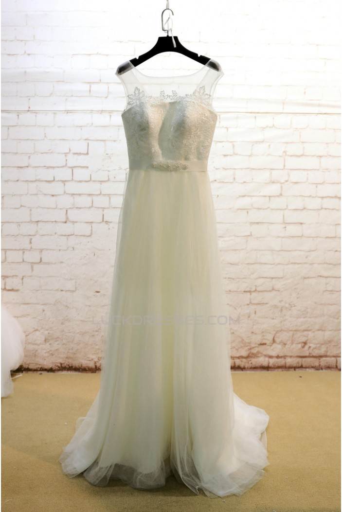 A-line Tulle and Lace Bridal Wedding Dresses WD010693
