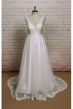 A-line V-neck Lace Bridal Wedding Dresses WD010696