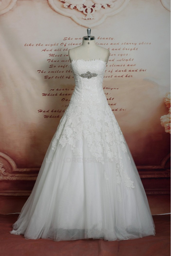 A-line Strapless Beaded Lace and Tulle Bridal Wedding Dresses WD010698