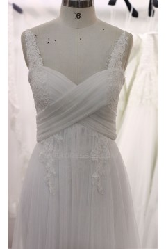 A-line Straps Lace and Tulle Bridal Wedding Dresses WD010699