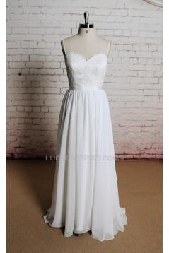 A-line Sweetheart Spaghetti Strap Lace and Chiffon Bridal Gown Wedding Dress WD010707