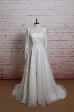 A-line Long Sleeves Lace Bridal Gown Wedding Dress WD010708