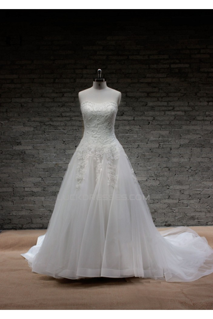 A-line Strapless Lace Bridal Gown Wedding Dress WD010710