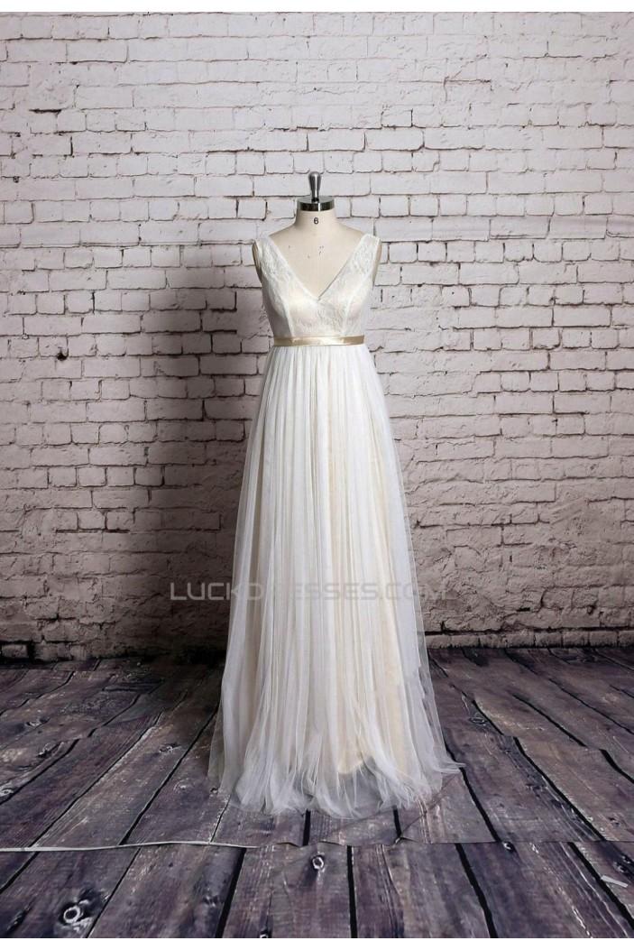 A-line V-neck Lace Bridal Gown Wedding Dress WD010717