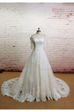 A-line Off the Shoulder Half Sleeves Lace Bridal Gown Wedding Dress WD010718