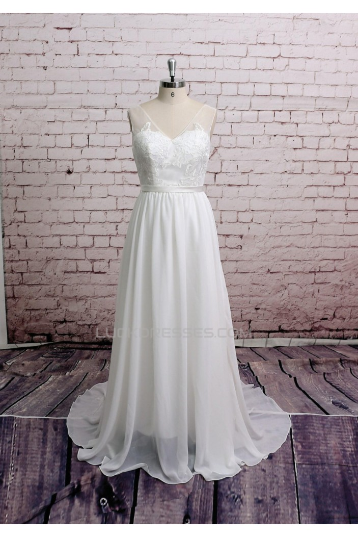 A-line V-neck Chiffon and Lace Bridal Gown Wedding Dress WD010722