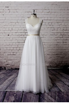 A-line Lace and Tulle Bridal Gown Wedding Dress WD010731