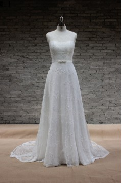 A-line Beaded Lace Bridal Gown Wedding Dress WD010734