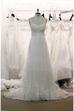A-line Straps Lace and Tulle Bridal Gown Wedding Dress WD010735