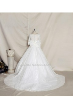 A-line Half Sleeves Lace Bowknot Bridal Gown Wedding Dress WD010736