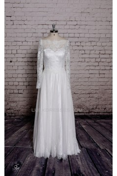 A-line Long Sleeves Lace Bridal Gown Wedding Dress WD010738