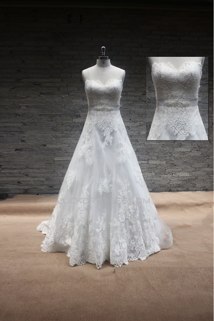 A-line Sweetheart Beaded Lace Bridal Gown Wedding Dress WD010740