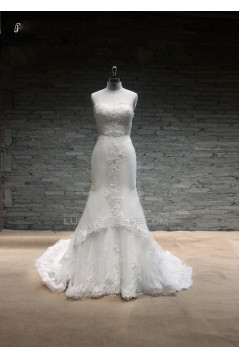 Trumpet/Mermaid Strapless Lace Bridal Gown Wedding Dress WD010741