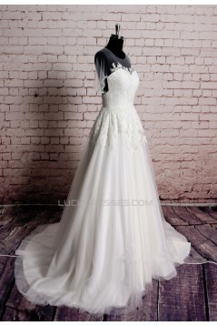A-line Lace and Tulle Bridal Gown Wedding Dress WD010744