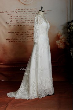 A-line Long Sleeves V-neck Lace Bridal Gown Wedding Dress WD010745