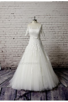 A-line Short Sleeves Lace Bridal Gown Wedding Dress WD010748