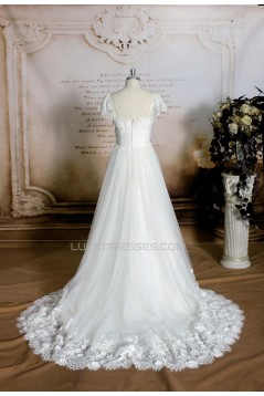 A-line Short Sleeves Lace Bridal Gown Wedding Dress WD010749
