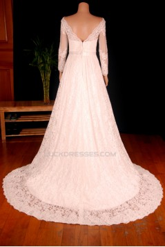 A-line V-neck Long Sleeves Lace Bridal Gown Wedding Dress WD010751
