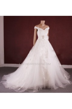 A-line Off the Shoulder Lace and Tulle Bridal Gown Wedding Dress WD010753