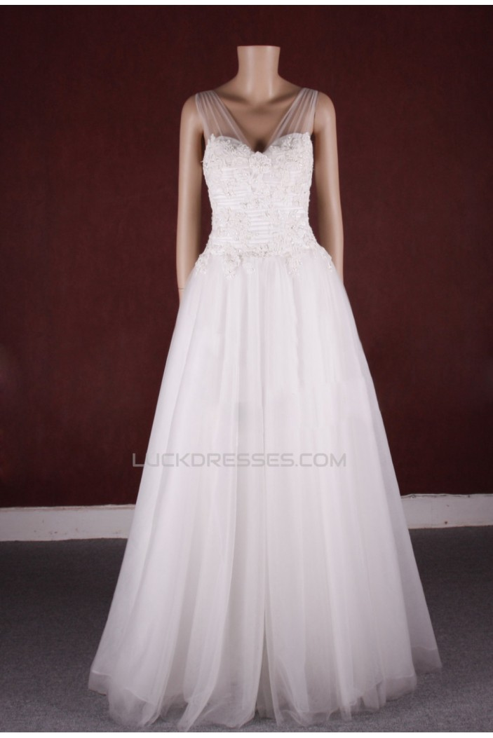 A-line Straps Lace and Tulle Bridal Gown Wedding Dress WD010755