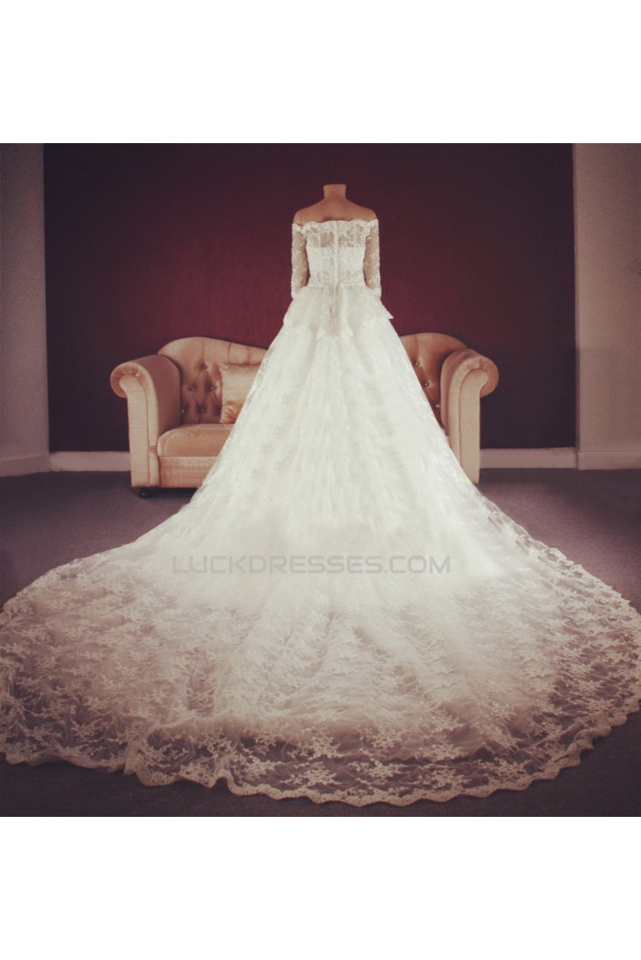A-line Off the Shoulder Half Sleeves Lace Bridal Gown Wedding Dress WD010757