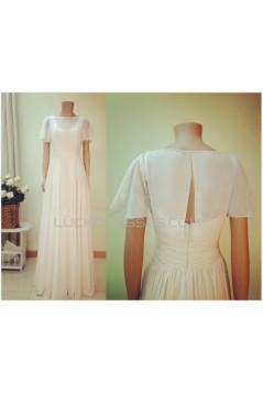 Sheath/Column Short Sleeves Chiffon Bridal Gown Wedding Dress WD010758