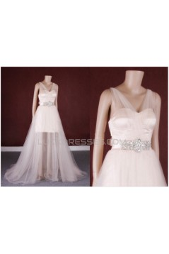 A-line Beaded Tulle Bridal Gown Wedding Dress WD010760