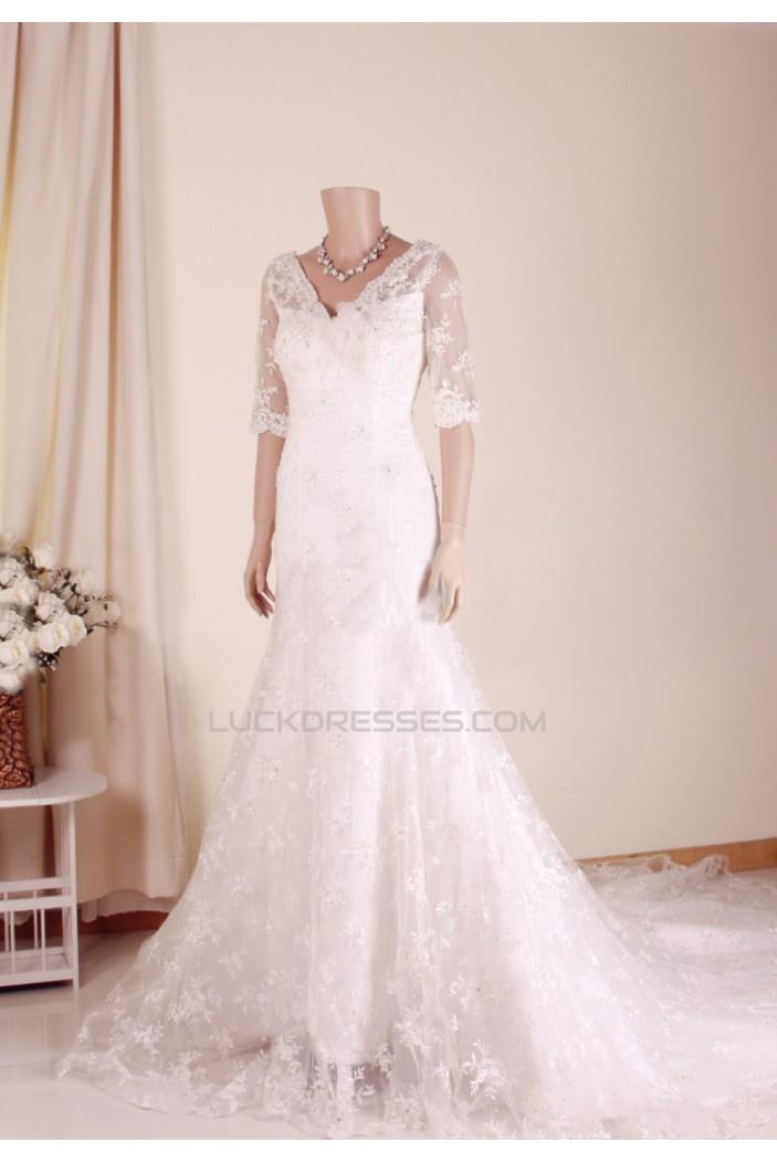 Trumpet/Mermaid V-neck Half Sleeves Lace Bridal Gown Wedding Dress WD010761