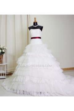Ball Gown Strapless Lace Bridal Gown Wedding Dress WD010765