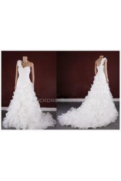 A-line One Shoulder Bridal Gown Wedding Dress WD010770