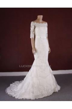 Trumpet/Mermaid Half Sleeves Lace Bridal Gown Wedding Dress WD010771
