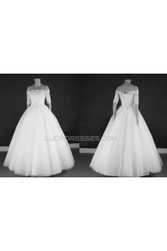 Ball Gown Off the Shoulder Half Sleeves Lace Bridal Gown Wedding Dress WD010773