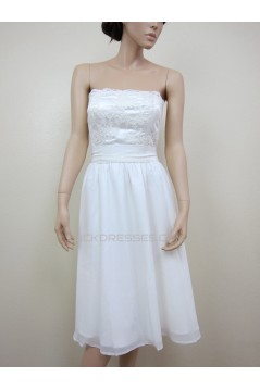 A-line Strapless Short Lace Bridal Gown Wedding Dress WD010785