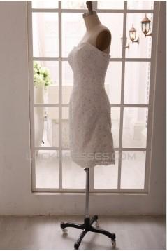 Sheath Sweetheart Beaded Appliques Short Bridal Gown Wedding Dress WD010793