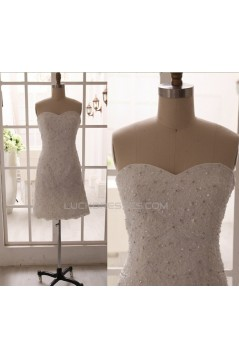 Sheath Sweetheart Beaded Appliques Short Bridal Gown Wedding Dress WD010793