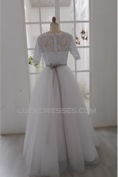 Ball Gown Half Sleeves Lace Bridal Gown Wedding Dress WD010794