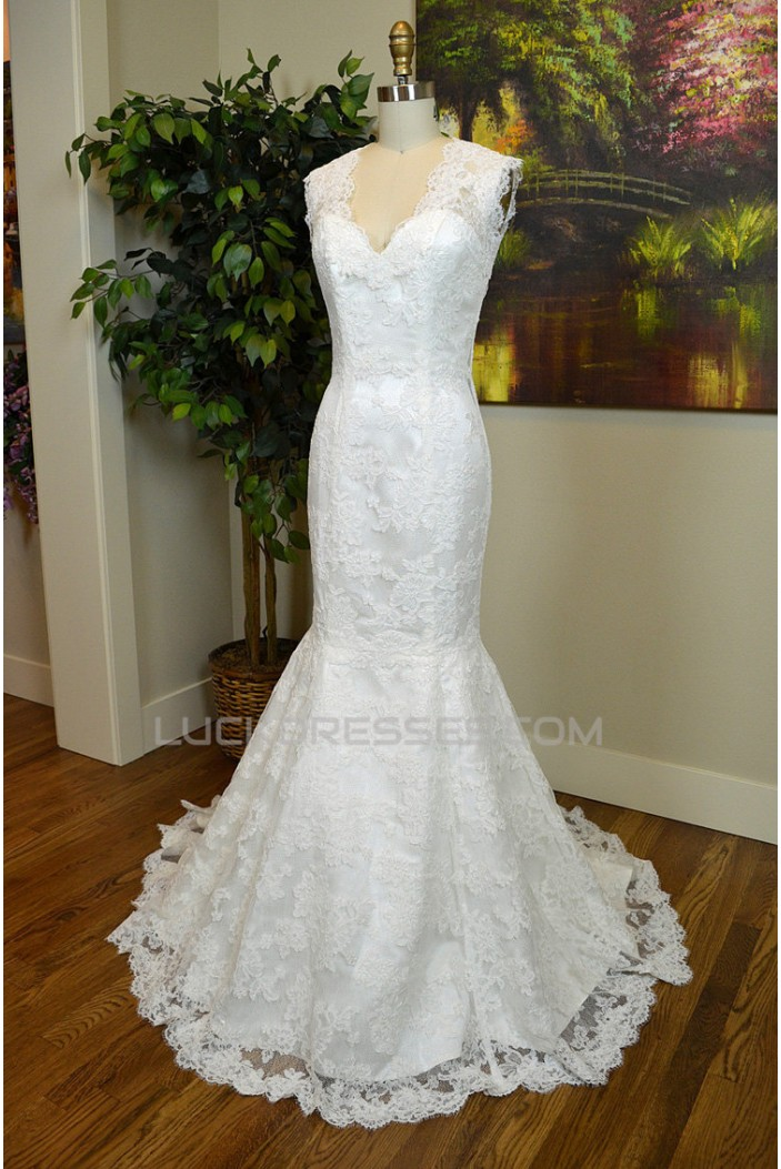 Trumpet/Mermaid V-neck Lace Bridal Gown Wedding Dress WD010797