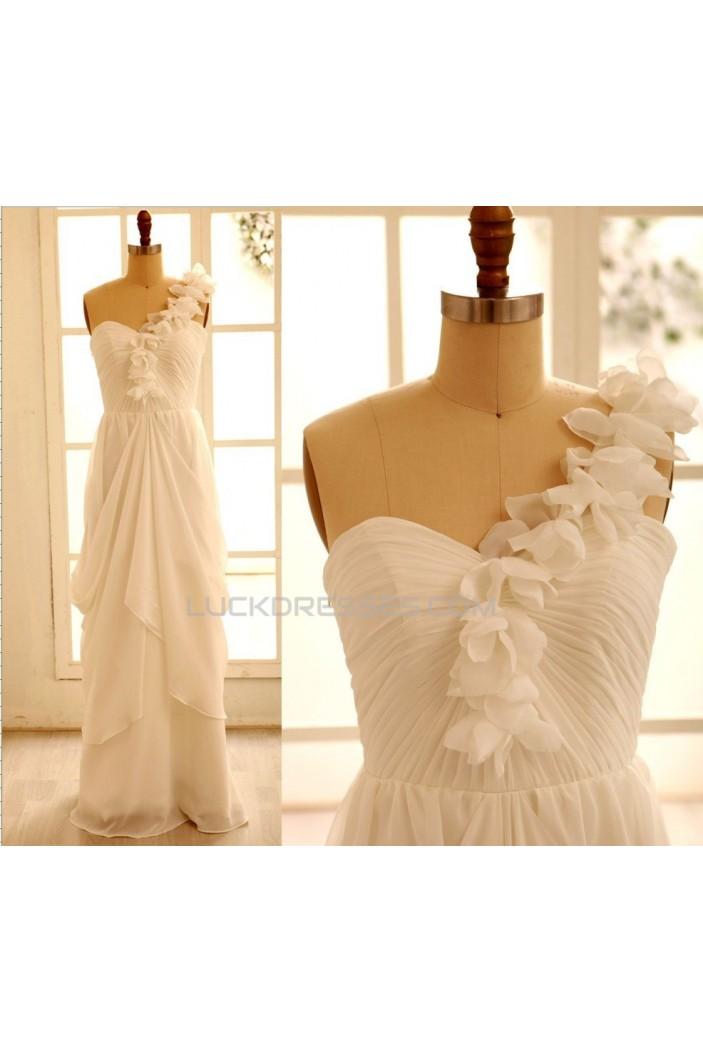 Sheath/Column One Shoulder Chiffon Bridal Gown Wedding Dress WD010799