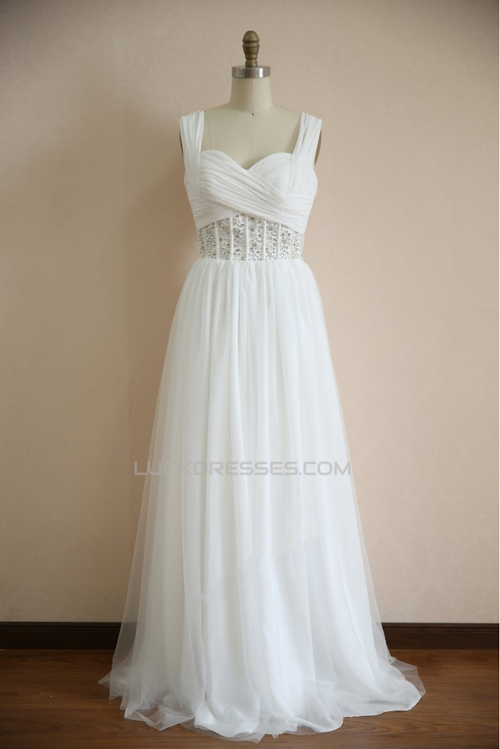 A-line Straps Beaded Bridal Wedding Dresses WD010802