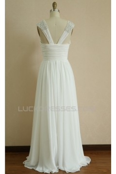 A-line Straps Beaded Chiffon Bridal Wedding Dresses WD010803