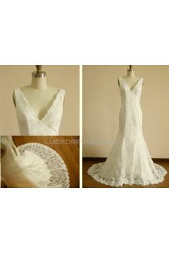 Trumpet/Mermaid V-neck Lace Bridal Wedding Dresses WD010804